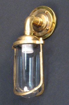 Reconditioned /& Polished Brass 90 Degree Ships Bulkhead Wall Light Rare Find