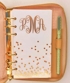 Monogram Foiled Planner Dashboard