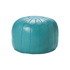 Turquoise Moroccan Leather Pouf   Serena & Lily