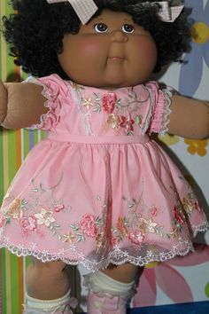 Cabbage Patch Doll Cloths- Pink Tulle Lace dress -matching panties - 2 hair bows