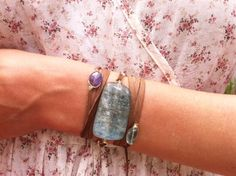 Aquamarine, Tanzanite Suede wrap bracelet and necklace.JPG
