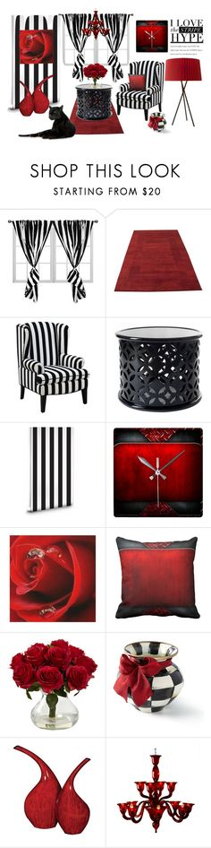 """Black & White Stripe Room"" by personaleffects ❤ liked on Polyvore featuring interior, interiors, interior design, home, home decor, interior decorating, Milton & King, MacKenzie-Childs, Howard Elliott and Voltolina"