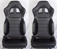 2 BLACK LEATHER RACING SEATS RECLINABLE TOYOTA NEW **