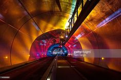 A tunnel of nearly 2 km for pedestrians, bicycles and buses, embellished with videos and sound effects, is inaugurated on December 6, 2013 in Lyon, France. The tunnel, passing under the Croix-Rousse, will take 2 mins by bus, 10 minutes by bike and 20-30 minutes walk.