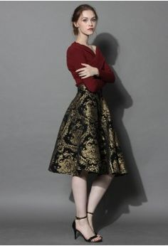 Golden Bouquet Jacquard Midi Skirt - Skirt - Bottoms - Retro, Indie and Unique Fashion