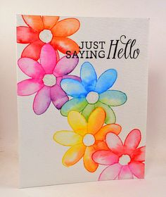 Hero Arts, Butterfly and Flower, Water Color, Distress Inks, Rainbow, Masking