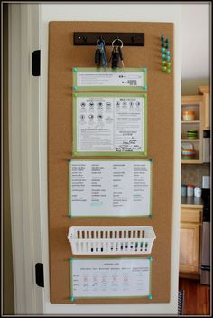 Cork board mounted inside the pantry door makes a useful space - Encouraged at Home