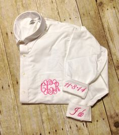 Monogrammed Oversized Button Down Wedding Day Shirt for Bride, Wedding Party or Family of the Bride