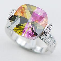 Rose Rainbow Topaz 925 Sterling Silver Top Quality Fancy Jewelry wedding Ring Size 6 7 8 9 10 F1086 www.bernysjewels.com #bernysjewels #jewels #jewelry #nice #bags