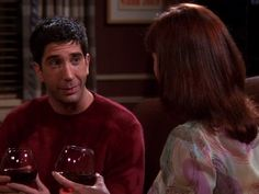 Ross and Rachel tell everyone about the night they were together. They have two different stories of how it happened until Ross accidentally reveals that he videotaped it. Not surprisingly, everyone wants to see it. Friends Season 1 Episodes, Tv Episodes, Ross Friends, Friends Tv Show, Ross And Rachel, David Schwimmer, Friend Photos, Best Tv Shows, The One