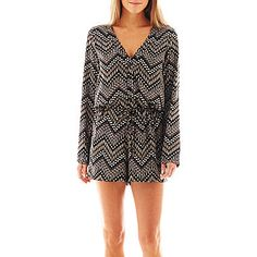 jcp | S.H.E. Long-Sleeve Button-Front Romper