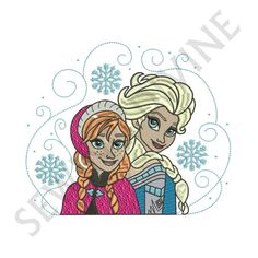 FROZEN Queen ELSA and ANNA Machine Embroidery Design Instant Download