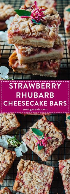 Strawberry Rhubarb Cheesecake Bars | Smorgaseats