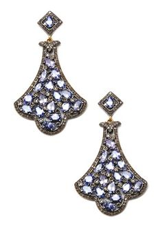 Tanzanite & Champagne Diamond Chandelier Earrings by Jewels By Lori K