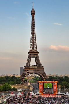 #Paris, #Eiffel Tower with #soccer screen