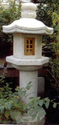 Shinto Bowl Granite Lantern - Traditional Japanese lantern with two wooden window openings. Insert electrical lights for a gorgeous night-time glow in the garden!