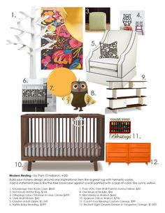 Modern Nesting: Build your nursery design around one inspirational item like a great rug with fantastic colors. Add a statement piece like the tree bookcase against a wall painted with a pop of color, like sunny yellow.