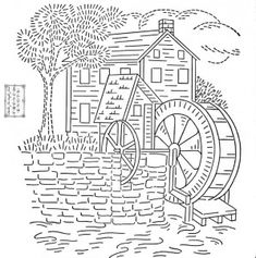 Old Mill House Embroidery Transfer Pattern