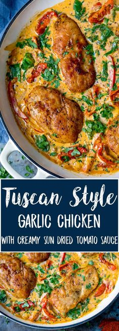 Packed with flavour, my Tuscan Chicken in Creamy Sun Dried Tomato Sauce is the ultimate chicken dinner. Serve with pasta, potatoes or just a big hunk of bread to dip into that creamy sauce. #tuscan #tuscanchicken #creamychicken #onepot #onepan #onepotchicken #sundriedtomato