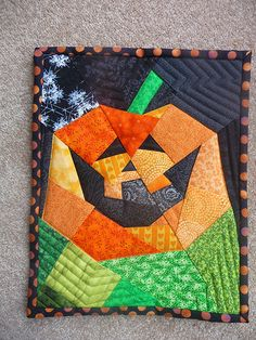 Pumpkin Mini Quilt - front by sewtobed, via Flickr