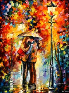 """Kiss Under The Rain"" artist Leonid Afremov    I really love his paintings... the colors, textures, technique, and the ambient light created from these three things!"