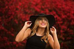 Senior Pictures, little black dress, floppy hat, fall senior pictures