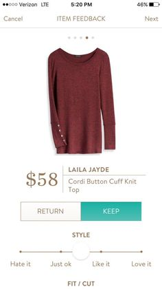 Laila Jayde Cordi Button Cuff Knit Top -would love to get this in my next fix!!