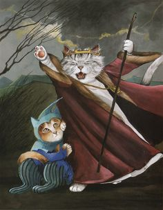 """King Lear:  Having lost the illusions about the evil behavior of his two daughters, King Lear, accompanied by a faithful buffoon, rages before the coming storm.  """"King Lear"""""""