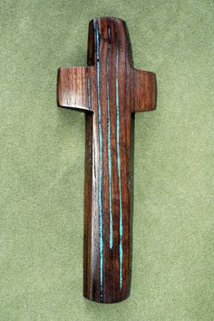 """8 """" high x 3""""   wide Walnut Wall Cross with Turquoise Inlay"""