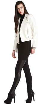 This  biker jacket is an easy to grab outerwear piece for a night out. Pair with tights and a tunic or a  feminie dress underneath.