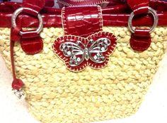 Brighton Wings Straw Handbag w Butterfly & Red Patent Leather Trim NWT Ret:$175. #Brighton #TotesShoppersShoulderBag