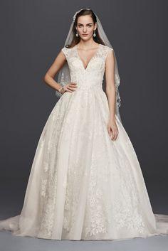 Tulle Oleg Cassini V-Neck Cap Sleeve Wedding Dress - Ivory, 0