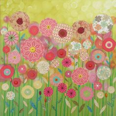 ButtonShop.ca - Spring Green - original mixed media canvas. £210.00,