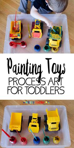 Painting Toys: Toddler Process Art; a perfect indoor activity for toddlers and preschoolers; arts and crafts