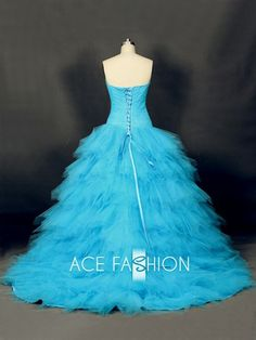Soft Tulle Turquoise Color Princess Style Handmade Wedding Dress