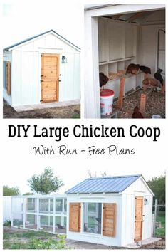 Need inspiration and the plans for a DIY chick coop, run, nesting boxes and even a dutch door? This is the post you need. Cute Chicken Coops, Chicken Coop Run, Chicken Pen, Chicken Coup, Chicken Garden, Chicken Life, Backyard Chicken Coops, Chickens Backyard, Large Chicken Coop Plans