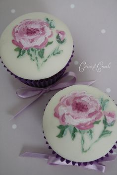 Hand painted cupcakes by Cotton and Crumbs, via Flickr