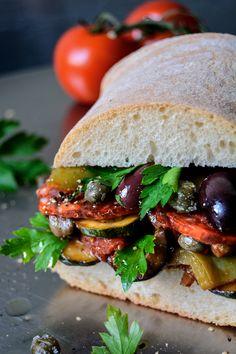 Caponata and Chorizo Ciabatta Sandwich ° eat in my kitchen