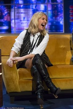 Wow thing: Ellie looked incredible in thigh-high boots and an embellished waistcoat for th...