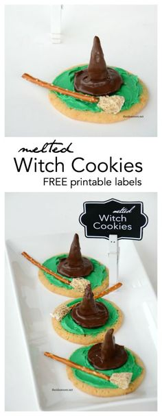 Looking for a fun Halloween cookie or Halloween party food idea? These Melted Witch Cookies are so easy to make and a great addition to your Halloween party.