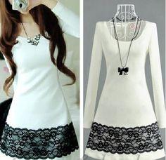 Fashion Boat Neck Long Sleeve A Line Knee Length White Lace Dress