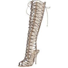 Sophia Webster Clementine Strappy To-the-Knee Gladiator Sandal Boot ($995) ❤ liked on Polyvore featuring shoes, sandals, boots, heels, grey, metallic shoes, strappy high heel shoes, leather shoes, lace up shoes and laced shoes