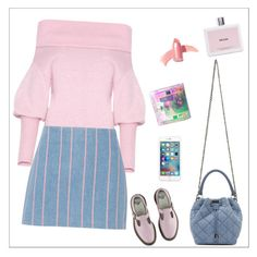 """denim-pinky mode: on"" by chintyar ❤ liked on Polyvore featuring Dr. Martens, Prada, STELLA McCARTNEY, T By Alexander Wang, Elizabeth Arden, Pink, denim, skirt, MINISKIRT and pinky"