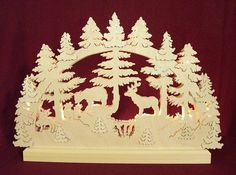 Candle arch -3D-Double-Arch - Animals in Forest (42x30x4,5cm/16x12x2in) by Michael Müller