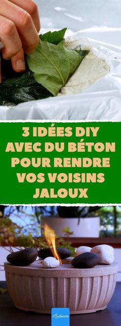 Voici 3 idées DIY pour votre déco d'intérieur ou extérieur. Pour les après-midi pluvieuses ou simplement organiser une activité avec les enfants, cet atelier sera parfait ! Il vous suffira d'un peu de béton et de quelques astuces pour réaliser ces objets et embellir votre environnement. De quoi impressionner les visiteurs ! Retrouvez tous les détails et explications de ces astuces dans l'article.   #DIY #Idées #Jardin #Déco #Beton #Ciment #Balcon #Atelier #Enfant #Tutoriel #Vidéo #Astuce Diy And Crafts, Parfait, Ethnic Recipes, Food, Design, Animation, Gardens, Courtyards, Manualidades