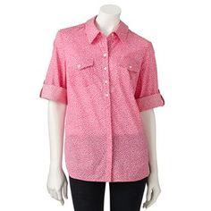 Croft and Barrow Polka-Dot Slubbed Button-Tab Shirt