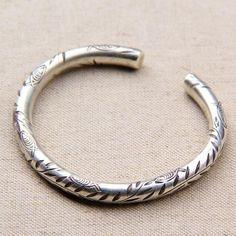 Fine Silver Handmade Round Cuff Bracelet