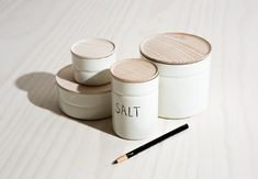 """""""It's hard to find containers that are countertop worthy,"""" says Janet. """"I'm thinking about replacing mine with these Enamel Canisters by Riess."""" Made in Riess's century-old factory in Austria, they have ash lids with airtight seals and come in four sizes; $38 to $58 atJoinery. See more kitchenware by Riess in Object Lessons: The Pastel Enamel Pot."""
