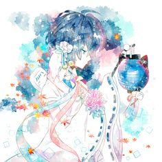 Anime Art Girl, Manga Art, Manga Watercolor, Chibi, Flower Art Images, Anime Boy Zeichnung, Pretty Art, Samurai, Drawings