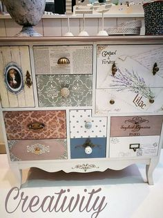 ModPodge pretty papers and add an assortment of drawer pulls for a unique piece.